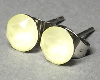 Stud Earrings/Plugs/Tunnels - Pastel Yellow Swarovski Crystal, Stainless Steel, Post/Stud Earrings, Gauges, Black, Rose Gold, Gold, Silver