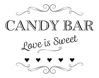 Printable Wedding Sign, Candy Bar Love is Sweet, Instant Download, 3 sizes, Transparent Background, PNG