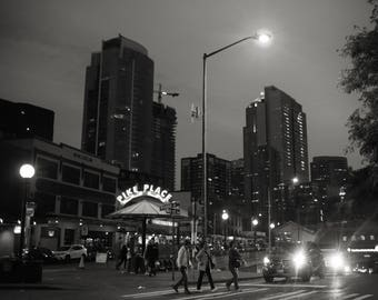 Pike Place Market Print, Seattle Photo, Seattle photography, Seattle print, black and white photo