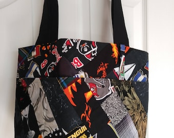 Black Patchwork Rag Bag Tote