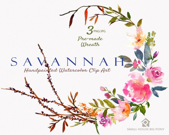 Digital Clipart- Watercolor Flower Clipart, peonies Clip art, Floral Wreath Clipart, wedding flowers clip art- Savannah Wreath