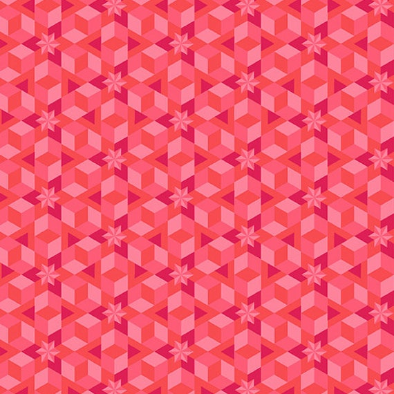 1/2 yd STARFISH CORAL Pink Diving Board A-8638-E Alison Glass