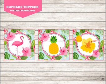 Flamingo cupcakes toppers instant download, Pineapple Toppers , Pink Party Pool Party Toppers