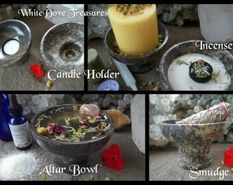 """CANDLE HOLDER ~ INCENSE Burner ~ Smudge Bowl 4.5"""" - Selenite Sand"""
