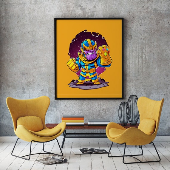 Thanos Poster Thanos Print Marvel Wall Art Avengers