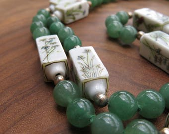 Japanese Jadeite Necklace with Handpainted Ceramic Beads