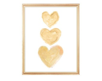Gold Heart, Gold Nursery Art, 8x10 Watercolor Print, Natural Nursery, Gender Neutral, Cottage Chic, Yellow Nursery Art, Gold Nursery Decor