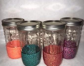 Mason Jar Glitter Cup