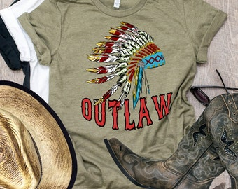 Indian Headdress, Indian Outlaw, Native American, Feather Headdress, Rodeo, Western, Country, Concert Shirt, Cowgirl, Bohemian, Gypsy Shirt