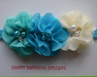 "Baby Headband, ""Elsa"" Inspired Headband, Newborn Photo Prop, Infant Headband, Baby Hair Bow"
