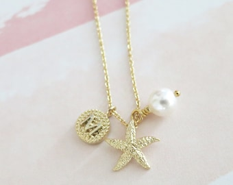 Personalised Initial letter Golden Starfish Necklace / Beach Nautical wedding, Sea pearl, bridesmaid bridal shower necklace, gifts for her