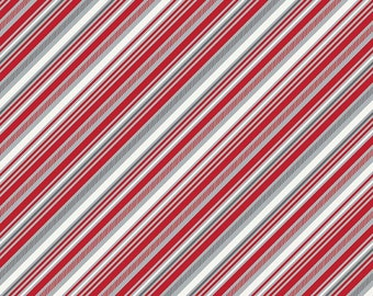 Red Gray and White Diagonal Stripe Cotton Fabric in Yard 3/4 Half and 1/4 Play Ball 2 Stripe Red for Quilting Sewing Applique by Riley Blake