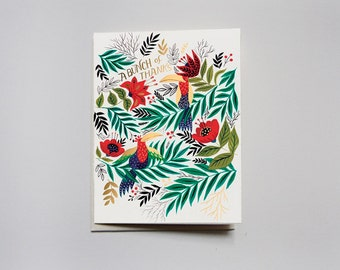 Greeting Card- A Bunch of Thanks - Parrots