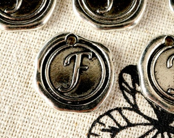 Alphabet letter F wax seal charm silver vintage style jewellery supplies