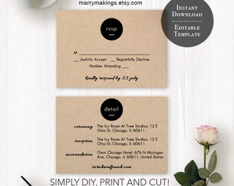 Wedding RSVP Template 31 | Printable Wedding Template, Editable RSVP Card, Wedding Rsvp Template, Instant Download, DIY Wedding, Minimalist