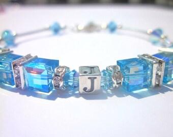 Birthstone Bracelet, Initial Bracelet, Swarovski Cubes, Bangle, Personalized, Mommy Bracelet, March Birthstone