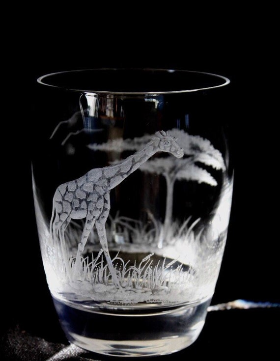 Hand Engraved double old fashion glass Giraffe, Giraffe, Engraved Glass, African Art, Crystal Glass Engraved, Etched Animal