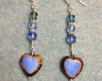 Opaque light blue Czech glass heart bead dangle earrings adorned with light blue Czech glass beads.