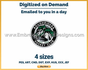 Cedar Rapids Rough Riders - Hockey Sports Logo Embroidery Design - 4 sizes Embroidery