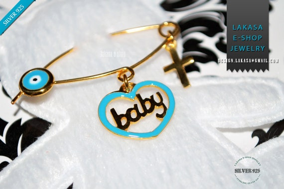 Blue Enamel Heart Baby Boy Brooch Sterling Silver Gold Handmade Jewelry Cross Eye Christening Mommy HappyShowerDay Religious Baptism Newborn