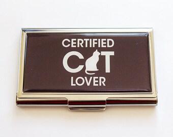 Business Card Case, Cat Lover, Card case, business card holder, Gift for Vet, Certified Cat Lover, Gift for Cat Lover, Veterinarians (5253)