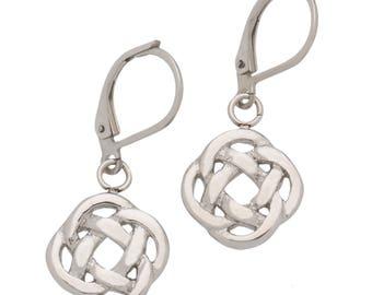 High Polished Stainless Steel Celtic Knot Dangle Earrings, Love Knot Earrings