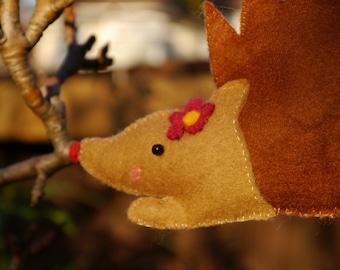 Adorable  brown handmade felt Hedgehog, great gift for Christmas