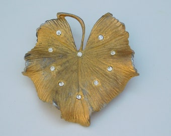 Coro Signed Brooch Pin Vintage Gold Tone Clear Rhinestone Leaf