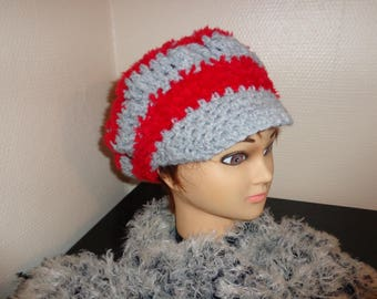 HAT GRAY AND RED CROCHET WOOL VERY SOFT