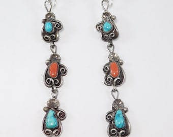 Long Dangling Southwest Silver Turquoise And Coral Earrings