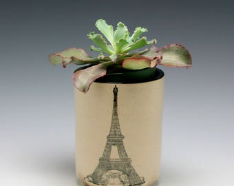 Ceramic Planter, succulent planter, orchid planter, cactus planter, White with Black Eiffel Tower/ ready to ship/Ceramics and Pottery