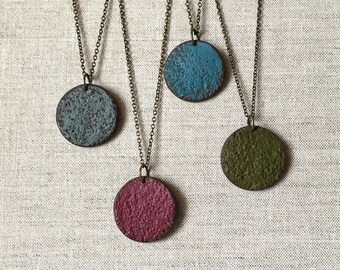 Round Necklace, Simple Circular Pendant, Fall Necklace, Rustic jewelry, Sun, Earth, Moon, Necklace, simple Layering necklaces, solid color