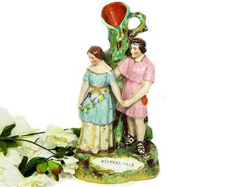 Antique Staffordshire Group Figure with Spill Vase Shakespeare's Winter's Tale