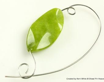 Olive Green Beaded Shawl Pin Brooch Scarf Pin