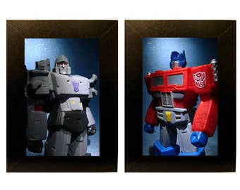 Transformers Toys Framed Photo Set Optimus Prime and Megatron