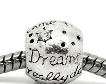 Bead spacer European silver stass, dream, set of 10 Pcs