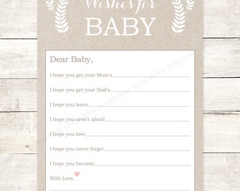 wishes for baby shower printable DIY kraft paper pink floral baby gender neutral well wishes for baby shower games - INSTANT DOWNLOAD