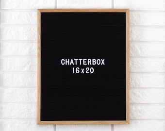 "16x20"" Chatterbox Letter Board - Oak Frame Letter Board - Messenger Board - Felt Board with 300+ Letter Set"