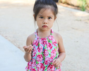 Floral Romper. Pink and Green Lily Romper for Spring and Summer. Rompers for Babies, Toddlers, Girls.
