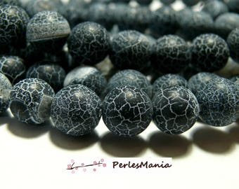 Frosted matte black dragon vein crackled agate 12 mm agate bead 10