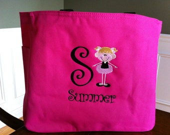 Personalized Ballet Bag Tote Hot Pink Girly Dance