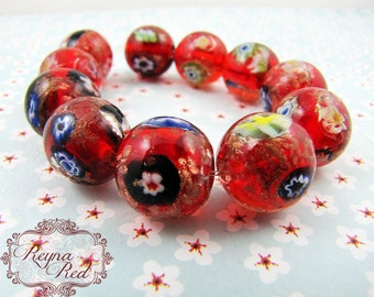 Red Jubilee Color Millefiori Lampwork Glass Smooth Round Beads, flower beads, glass floral beads, lampwork glass, beads - reynaredsupplies