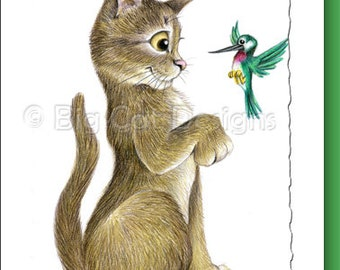 CAT CARD. Well Hello There. Abyssinian Cat with Hummingbird . Cat Greeting Card.  5X7 Framable Card.