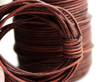1mm cuerda de cuero Natural redonda - Vintage marrón coñac - 10 pies, LC071