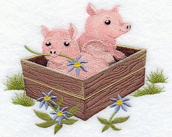 Country Style Baby Pigs Embroidered Flour Sack Hand/DIsh Towel