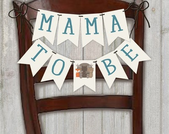 Mama To Be Baby Shower Banner, Woodland Animal