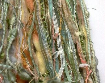 aloe fringe effects™  21yd fiber art yarn bundle . cactus moss sage green sand tan . sari silk merino wool dyed ribbons sparkle yarn pack