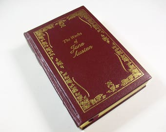 The Works of Jane Austen Book, Vintage Jane Austen Collection, Emma Pride and Prejudice & Sense and Sensibilities, Red Gold Library Decor