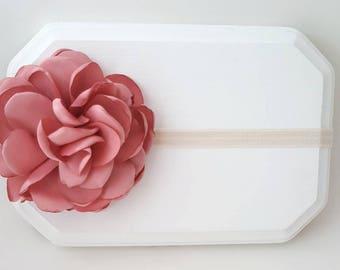 Blush Rose and Ivory Headband, Dusty Pink Headband, Dusty Rose Headband, Pink Baby Headband, Flower Girl Headband, Newborn Headband