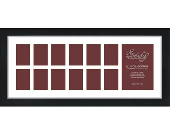 Craig Frames, 9x22 Inch Black Picture Frame, Single White Collage Mat with 13 Openings (500092201C29A)